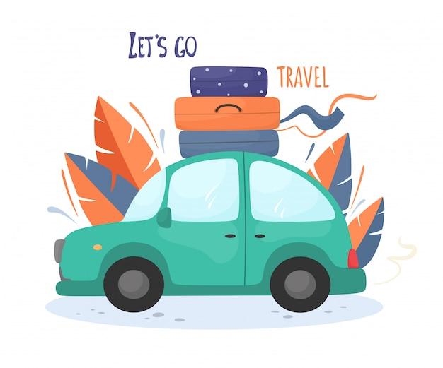 Andiamo a viaggiare motivazionali. auto retrò con valigie sul tetto