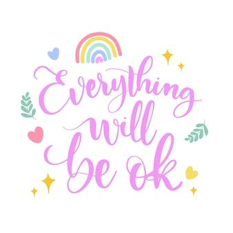 Andrà tutto bene arcobaleno e foglie