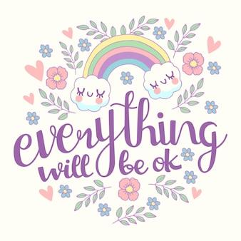 Andrà tutto bene lettering con arcobaleno