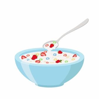 Anelli di cereali con fragole in una ciotola.