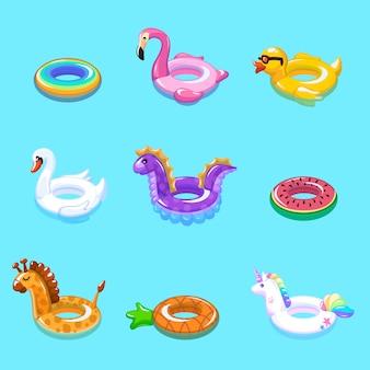Anelli di nuoto. il bambino gonfiabile della boa del galleggiante gioca le vacanze estive di nuotata dello stagno della spiaggia dell'anatra della cintura di salvataggio dell'anello galleggiante