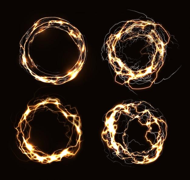 Anelli magici, cerchi elettrici astratti, cornici rotonde dorate, fulmini circolari luminosi