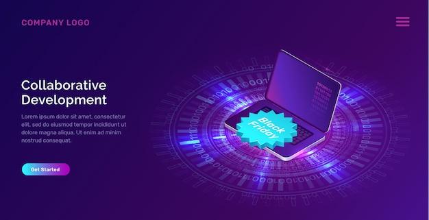 Anello al neon blu incandescente, laptop