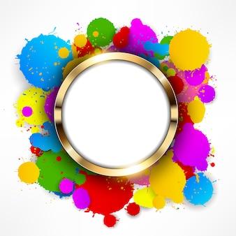 Anello d'oro tondo su sfondo colorato spruzza