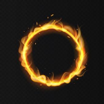 Anello di fuoco cerchio di circo ardente ardente realistico