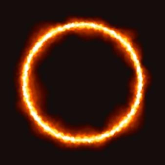 Anello di fuoco realistico con sfondo nero
