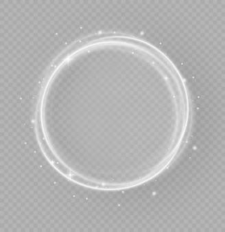 Anello di luce bianca di lusso astratto con effetto traccia, cerchi di luce che brillano o battiti di stelle, traccia luminosa dai raggi luminosi di torsione in un rapido movimento in una spirale, magico concetto di natale,