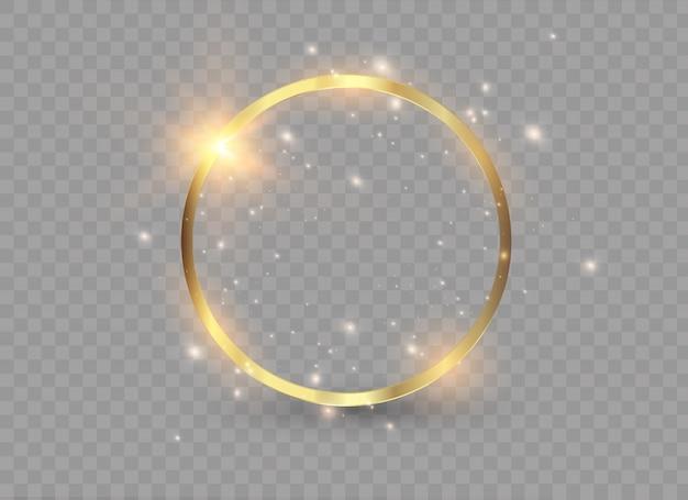Anello dorato di lusso astratto. cerchi di luce ed effetto scintilla.