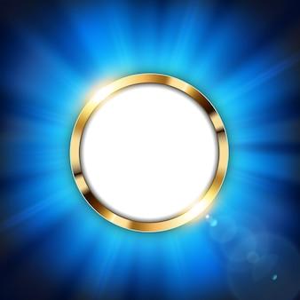 Anello in oro metallizzato con spazio testo e luce blu