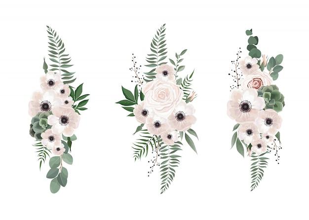 Anemone di disegno floreale bouquet vettoriale