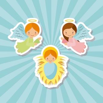 Angeli del cartone animato e gesù bambino