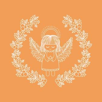 Angelo all'interno di ornamento e icona corona di foglia rustica