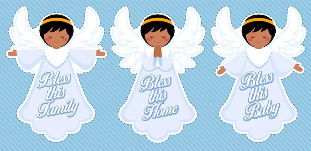 Angelo benedizione carino, decorazione bambino afro ragazzo