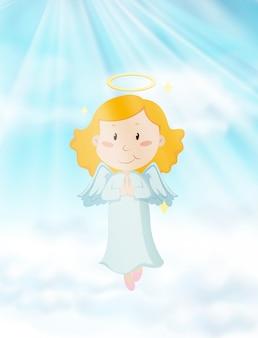 Angelo che vola nel cielo