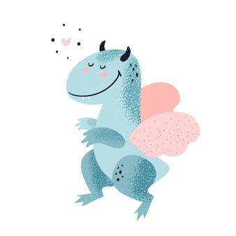 Angelo dinosauro con cuore e ali. carino adorabile mostro