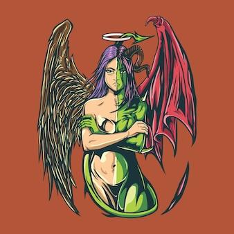 Angelo e demoni disegnati a mano