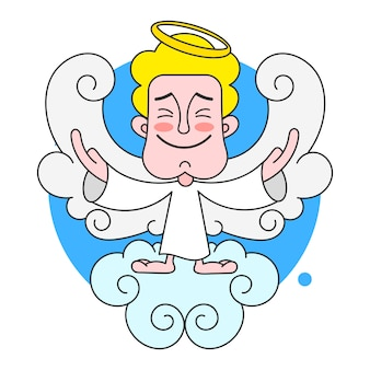 Angelo on cloud with halo on head vector