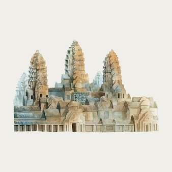 Angkor wat nella pittura ad acquerello di siem reap