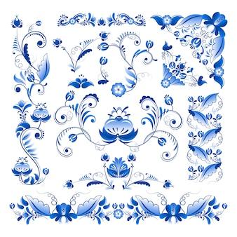 Angoli e altri elementi floreali in stile gzhel