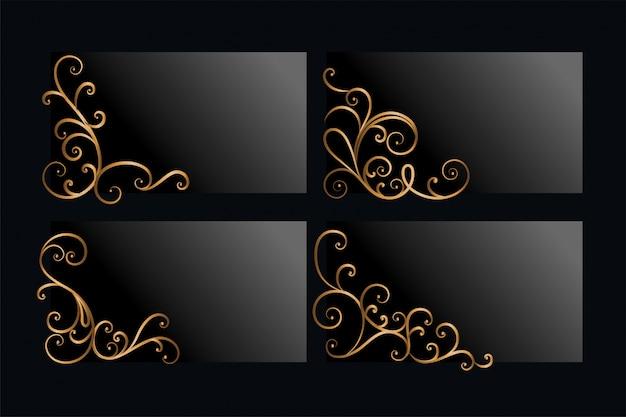 Angoli floreali dorati ornamentali impostato con lo spazio del testo
