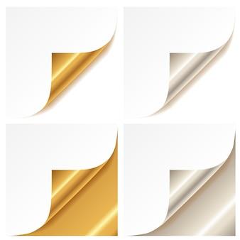 Angolo di pagina dorato e argento arricciato