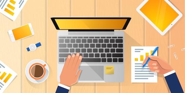 Angolo superiore dell'uomo di affari dell'illustrazione piana del computer portatile di lavoro di workplace desk hands dell'uomo d'affari sopra l'ufficio di vista