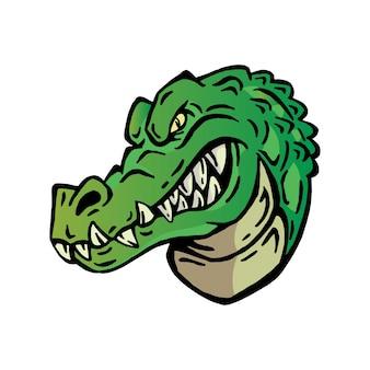 Angry crocodile head logo character illustration