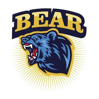 Angry grizzly bear ruggente logo mascot, cartoon