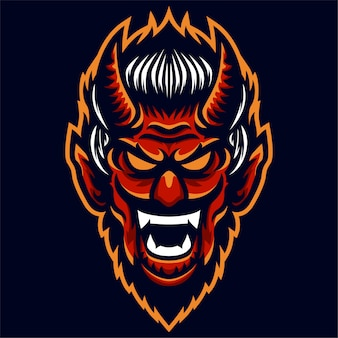 Angry red head devil logo template