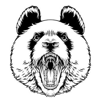 Angry roaring panda head vector mascot character