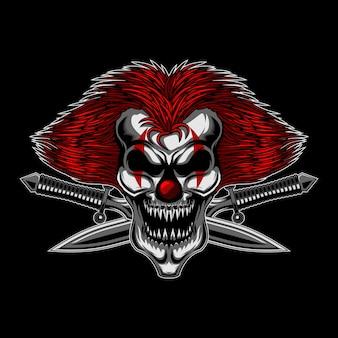 Angry skull clown cross spada