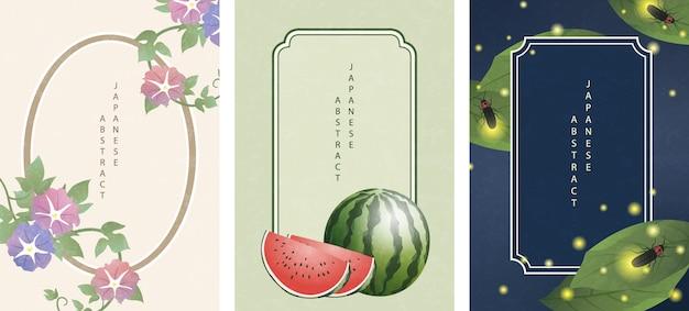 Anguria e lucciola del fiore della natura di stile giapponese orientale