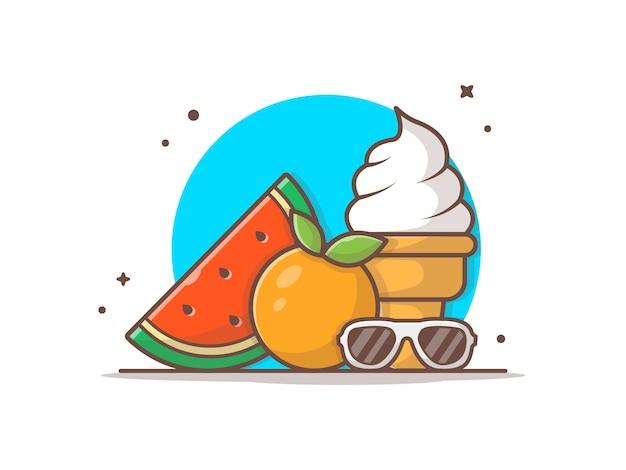 Anguria, gelato, arancia e occhiali da sole