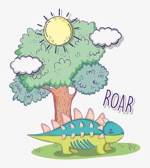 Animale ankylosaurus con albero e sole con nuvole