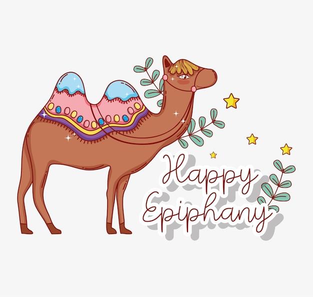 Animale cammello con rami lascia alla celebrazione dell'epifania