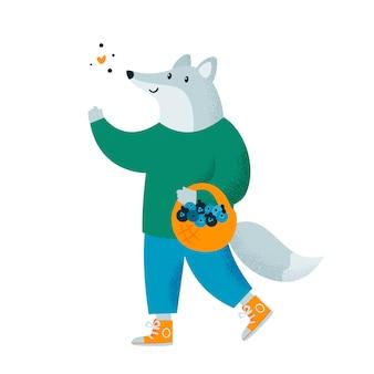 Animale carino lupo con cesto e bacche che camminano nella foresta