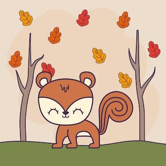 Animale carino scoiattolo con foresta