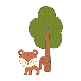 Animale carino scoiattolo con pianta ad albero