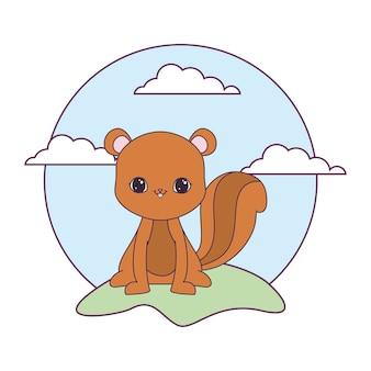 Animale carino scoiattolo nel paesaggio naturale