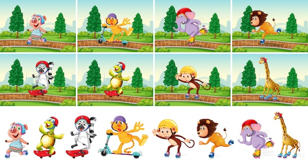 Animale che gioca nel parco