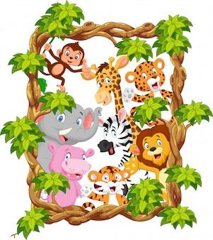 Animale da collezione dei cartoni animati con cornice in legno