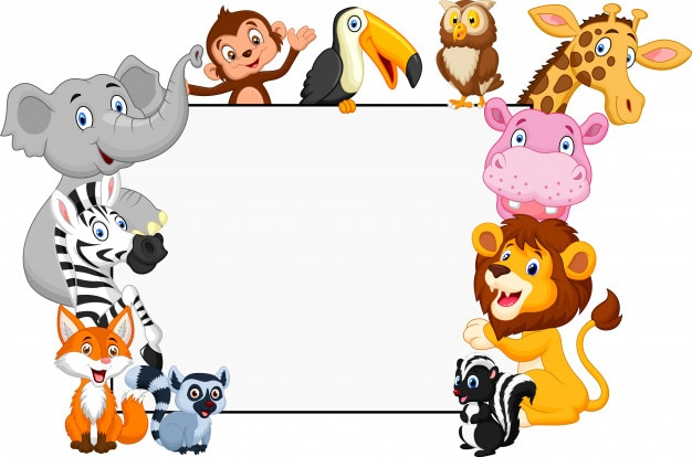 Animale da collezione dei cartoni animati con segno bianco