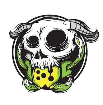 Animale del cranio con l'illustrazione di vettore del corno