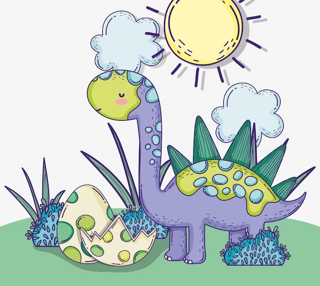Animale della fauna selvatica stegosauro con uova di dino