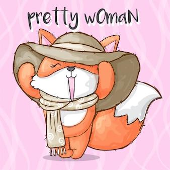 Animale disegnato a mano della volpe graziosa della donna