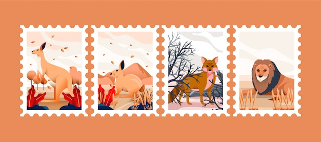 Animale disegnato per francobolli