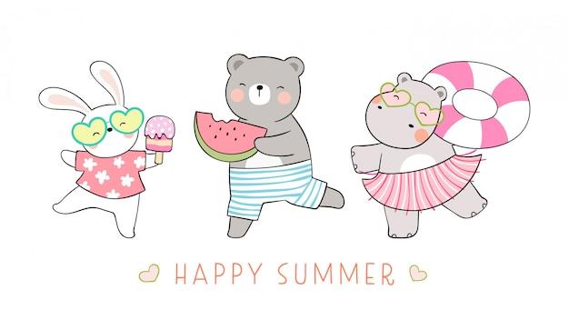 Animale divertente sulla spiaggia per l'estate.