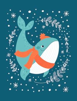 Animale felice della balena dell'oceano isolato su oscurità