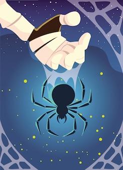 Animale ragno terrificante nella scena di halloween
