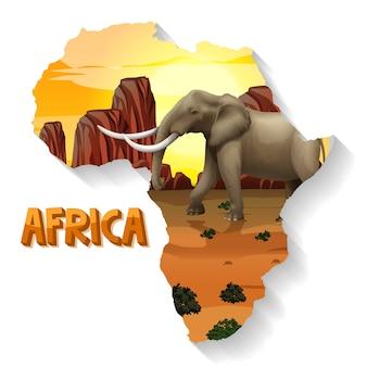 Animale selvatico africano sulla mappa